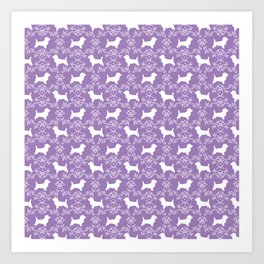 Cairn Terrier silhouette florals purple and white minimal dog breed basic dog pattern Art Print