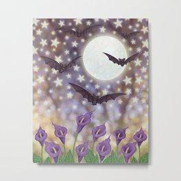 the moon, stars, bats, & calla lilies Metal Print