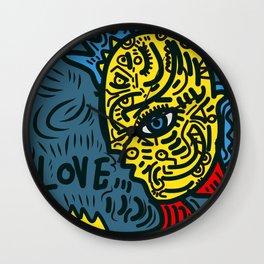 Punk Love Street Art Graffiti by Emmanuel Signorino Wall Clock