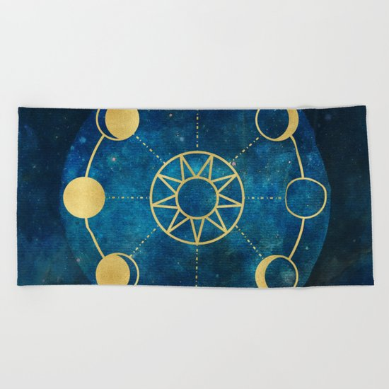 Gold Moon Phases Sun Stars Night Sky Navy Blue Beach Towel