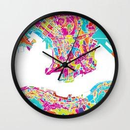 Hong Kong Colorful Map Wall Clock