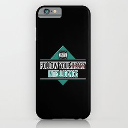 Follow your intelligence instead of your heart INTJ MBTI quote in black and turquoise iPhone Case