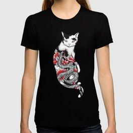 Cat in Grey Snake Tattoo T-shirt