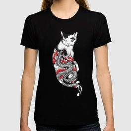 Cat in Grey Snake Tattoo T-shirt