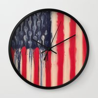 america Wall Clocks featuring America  by Matt Pecson
