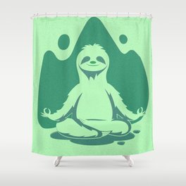 Happy Green Sloth Shower Curtain
