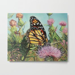Oil painting monarch butterfly with milkweed Metal Print
