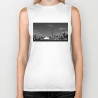skyline Biker Tanks featuring Toronto Skyline by Christophe Chiozzi