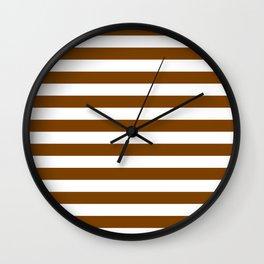 Narrow Horizontal Stripes - White and Chocolate Brown Wall Clock