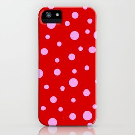 Pink Dots on Red iPhone Case