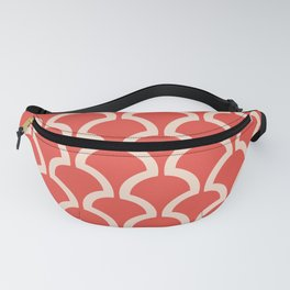 Classic Fan or Scallop Pattern 483 Red and Beige Fanny Pack