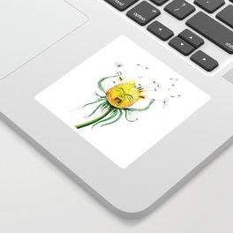 Angry Flower Whimsical Art Sticker