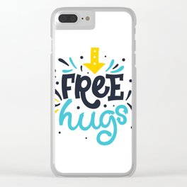 FREE HUGS. Bright lettering. Clear iPhone Case