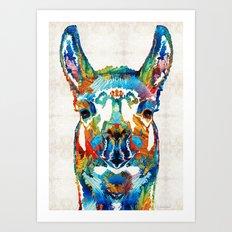Colorful Llama Art - The Prince - By Sharon Cummings Art Print