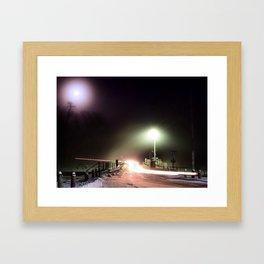 Driving Over A Dam Under The Moon Framed Art Print