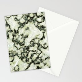 Olive Green Metallic Marble Texture Stationery Cards