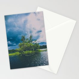 tree island on a stormy lake Stationery Cards