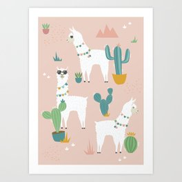 Summer Llamas on Pink Art Print