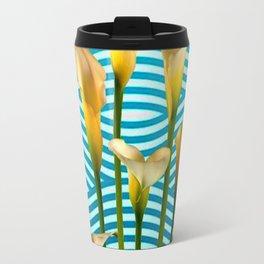 Calla Lilies  Blue Rippling Water Graphic Art Travel Mug