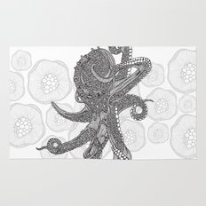 Octopus Bloom black and white Rug