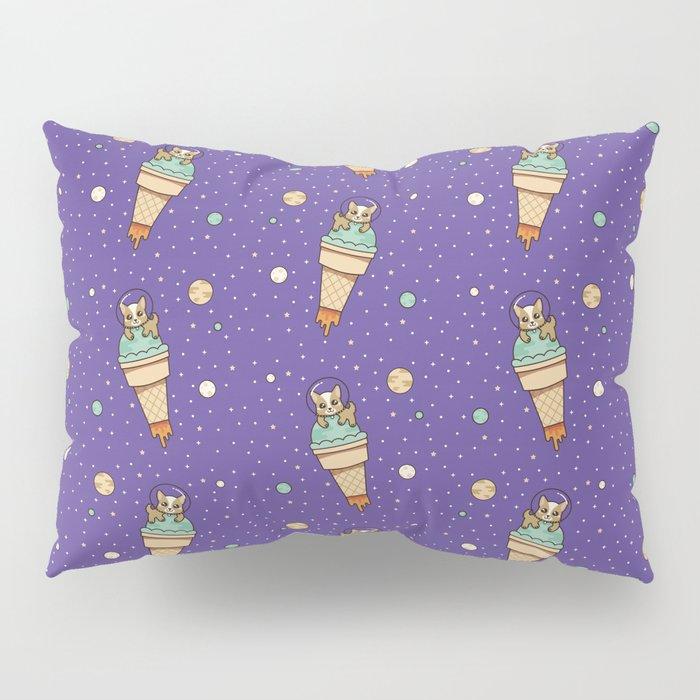 Kawaii Corgi Dog on an Ice Cream Rocket in Space Pillow Sham