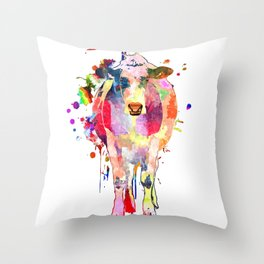 Colored Cow Throw Pillow