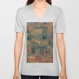 geometric triangle pattern abstract in brown and black Unisex V-Neck