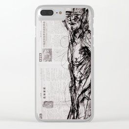 Saint - Charcoal on Newspaper Figure Drawing Clear iPhone Case