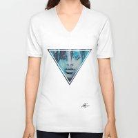 rihanna V-neck T-shirts featuring Rihanna by Nechifor Ionut
