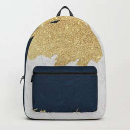 Navy blue white lace gold glitter brushstrokes Backpack