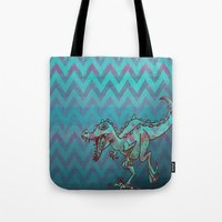 dino Tote Bags featuring dino  by Bunny Noir