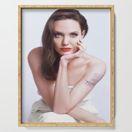 Angelina Jolie Celebrity Silk poster Serving Tray