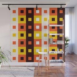 Geometric Pattern 74 (orange stripes squares) Wall Mural
