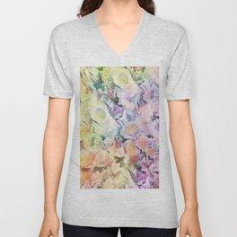 Vintage Soft Pastel Floral Abstract Unisex V-Neck