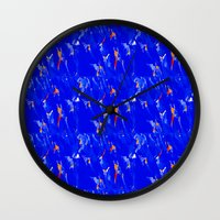 surfing Wall Clocks featuring Surfing by Art-Motiva