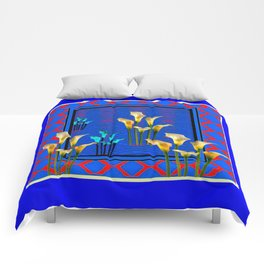 Blue Art White Calla Lilies Red Patterns Comforters