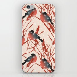 Winter pattern with bullfinches. iPhone Skin