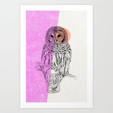 Techno Owl Art Print