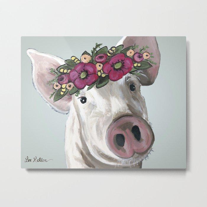 Pig with Flower Crown, Cute Pig, Farm Animal Art Metal Print