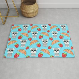 Cute happy funny baby puppy Schnauzers, sweet adorable yummy Kawaii croissants and red ripe summer strawberries cartoon light pastel blue pattern design Rug
