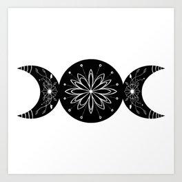 Triple Moon Goddess Moon Flowers Art Print