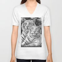 tigers V-neck T-shirts featuring Two Tigers by Thubakabra