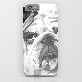 Portrait Of An American Bulldog In Black and White iPhone Case
