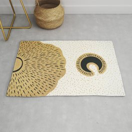 Sun and Moon Relationship // Cosmic Rays of Black with Gold Speckle Stars Cool Minimal Digital Drawn Rug