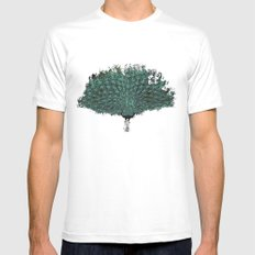 Peacock -blue White Mens Fitted Tee MEDIUM