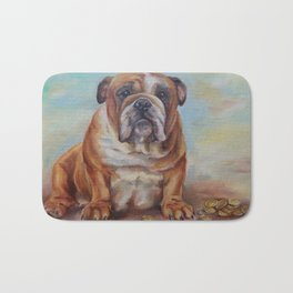 Dogmoney Funny portrait of English Bulldog with cash money Oil painting on canvas Bath Mat