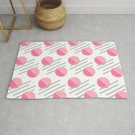 Modern Pink Circle Line Abstract Rug