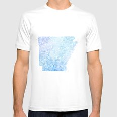 Typographic Arkansas - Blue Watercolor MEDIUM Mens Fitted Tee White