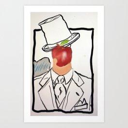 Bitten Apple Face Art Print