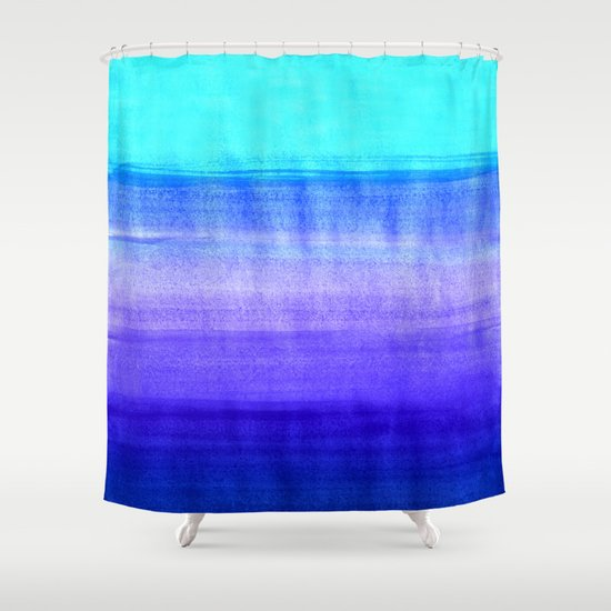 Ocean Horizon Cobalt Blue Purple Mint Watercolor Abstract Shower Curtain By Tangerine Tane